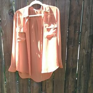 Sheer button front top